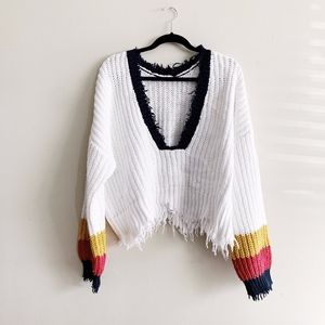 Wildfox Varsity Cropped Sweater